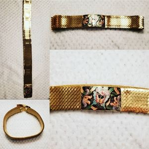 Vintage Gold Sequined Belt with Butterfly Buckle